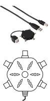 Кабель USB A-B (m-m) + адаптер USB B (f) -> 5 штекеров miniUSB (B4, B5, B6, B8, M4) (m), черный, Hama     [ObF]